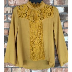 Self Esteem Long Sleeve Gold Lace Top   Small